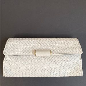 BCBGMaxAzria Oversized White Leather Clutch